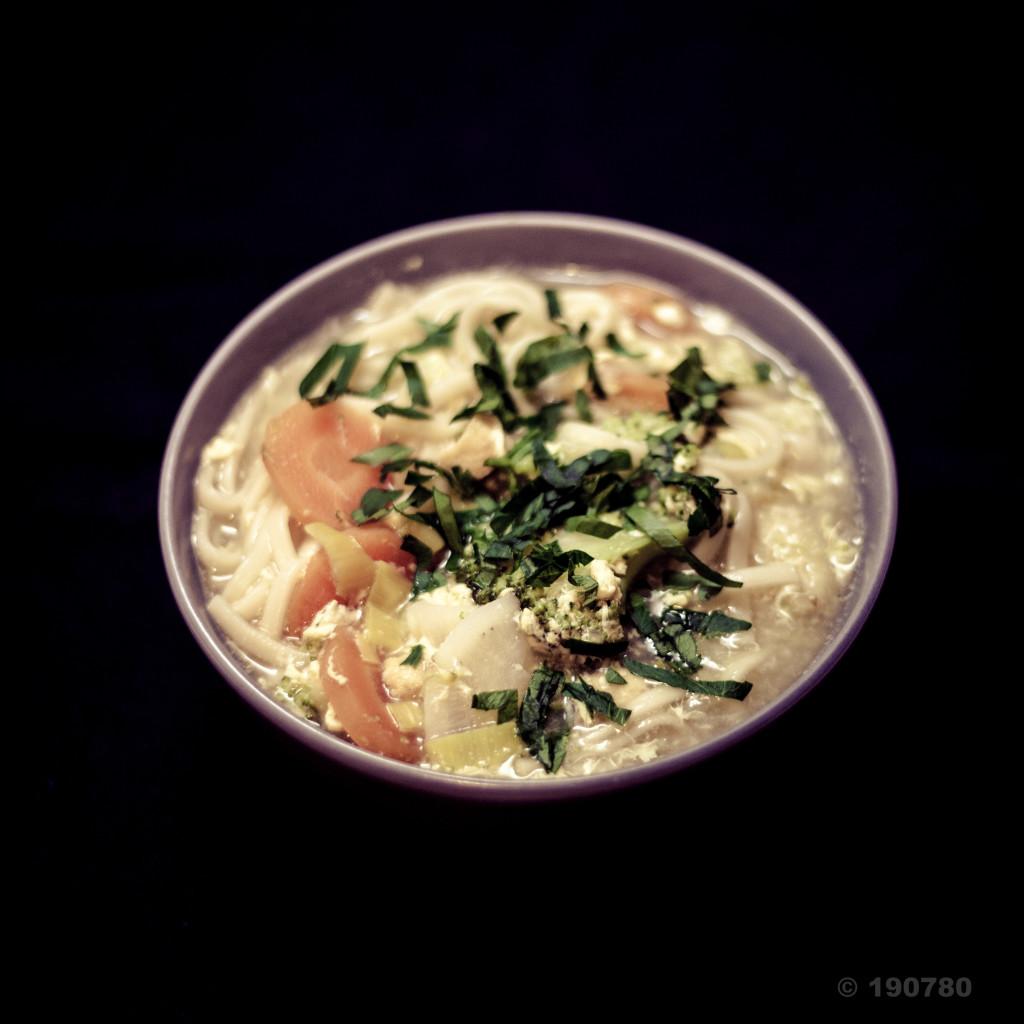 Dressage des nouilles udon