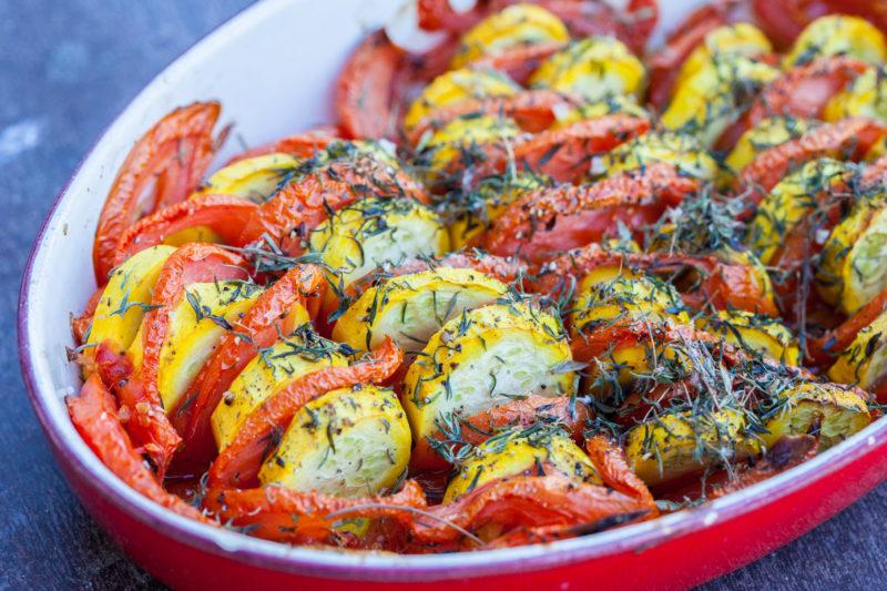 Tian de tomates et courgettes jaunes