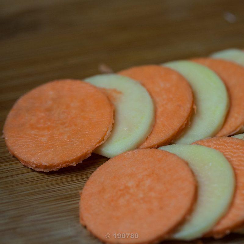 ronde de pommes de terre et patates douces